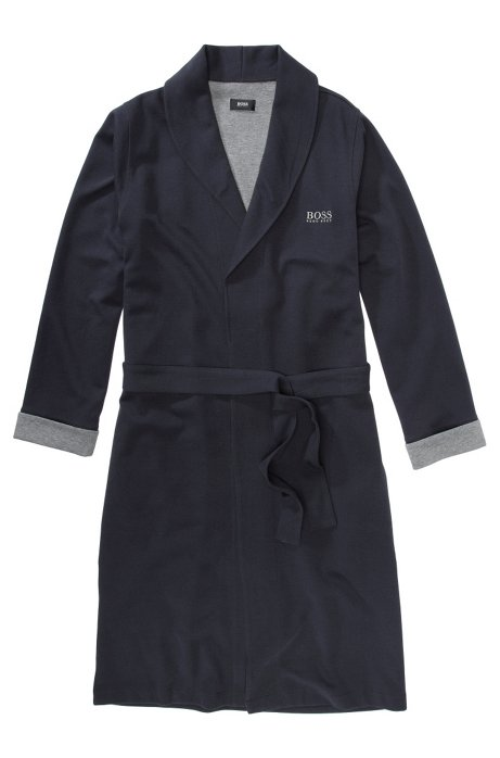 Cotton blend bathrobe 'Shawl Collar BM', Dark Blue