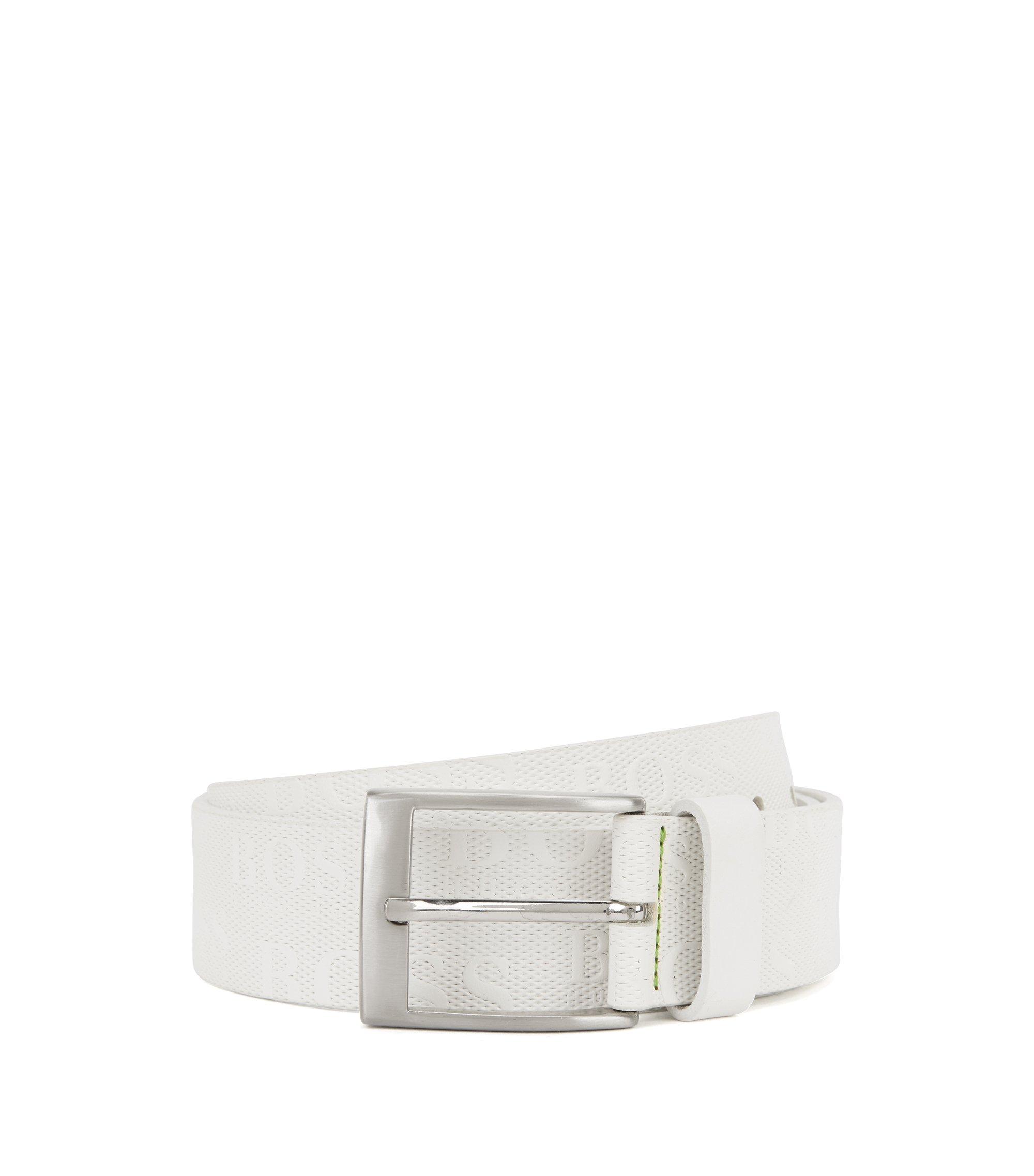 Cinturón de piel con logo repujado en la correa, Blanco