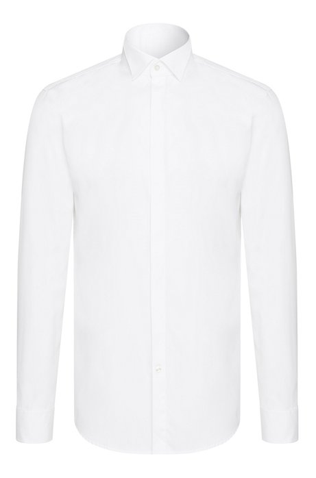 Slim-fit dress shirt in cotton: 'Illik', White