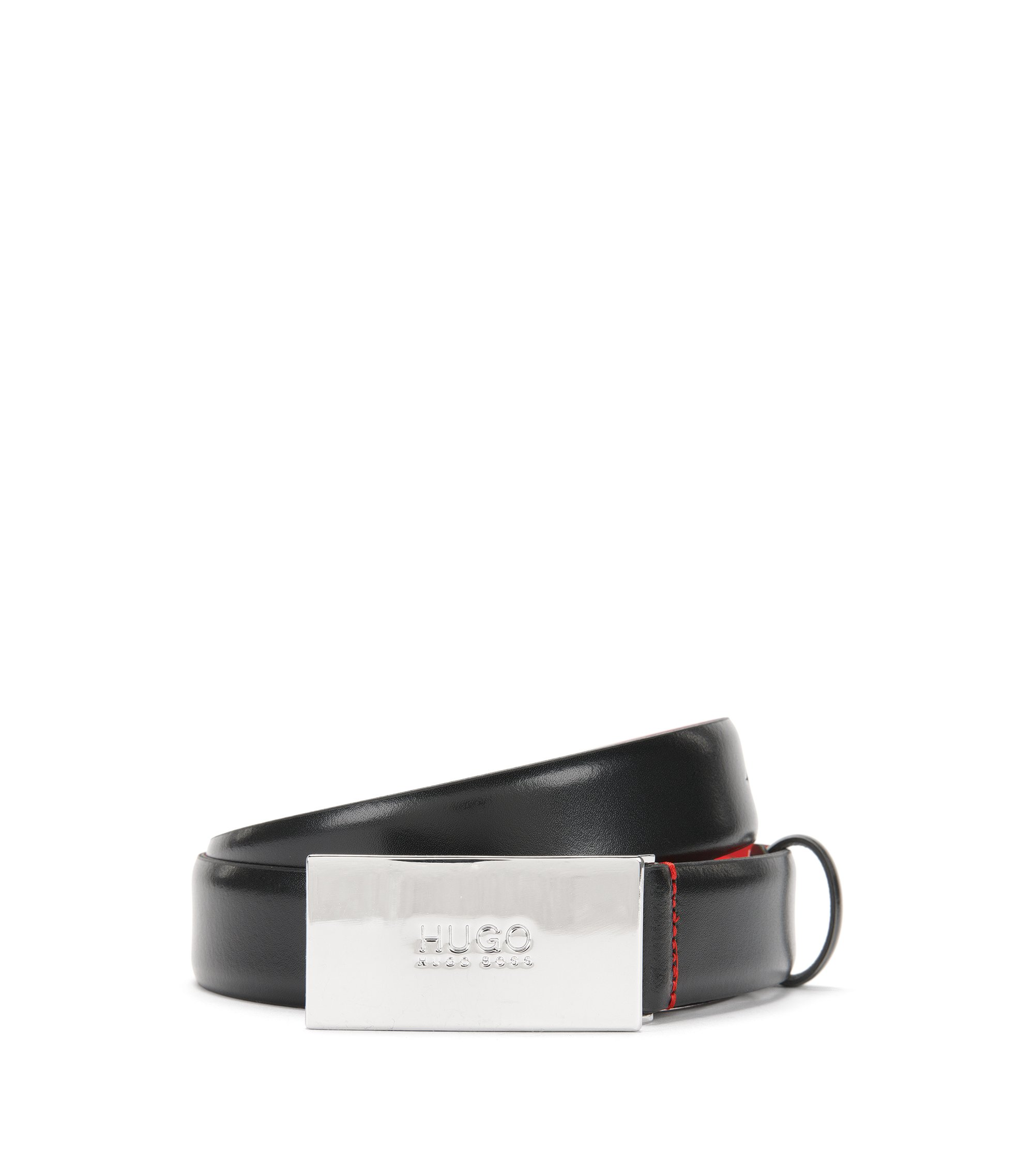 Leather belt with logo-detail plaque buckle, Black