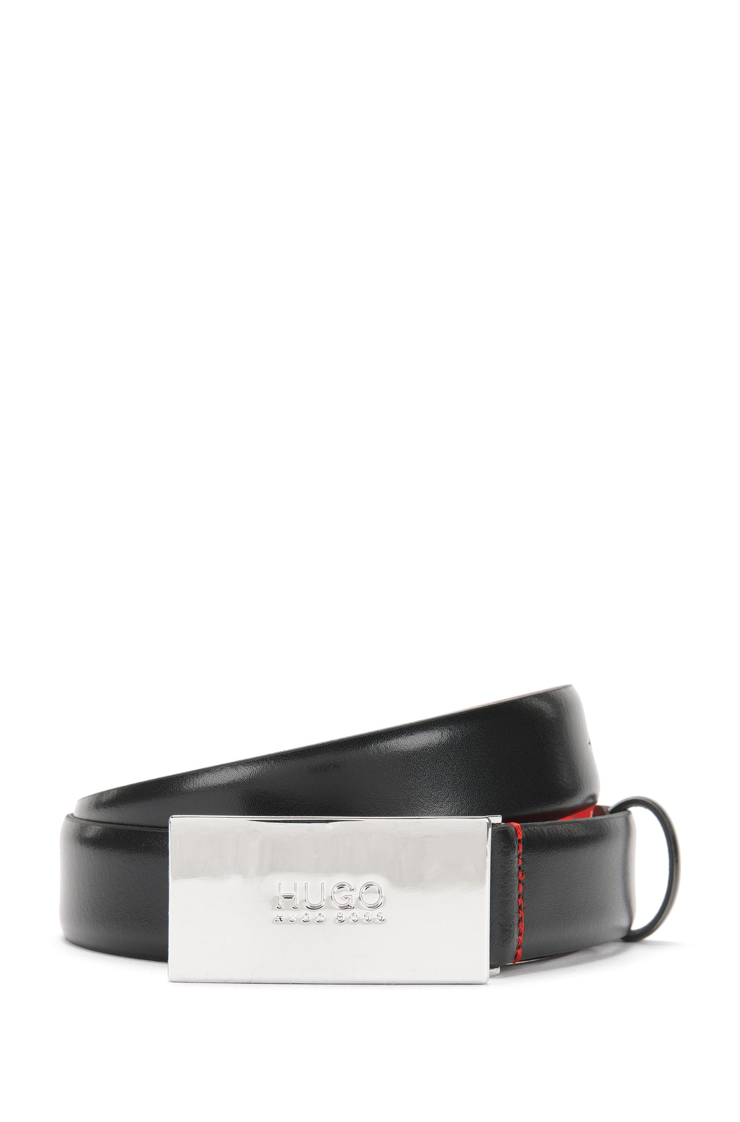 Leather belt with logo-detail plaque buckle