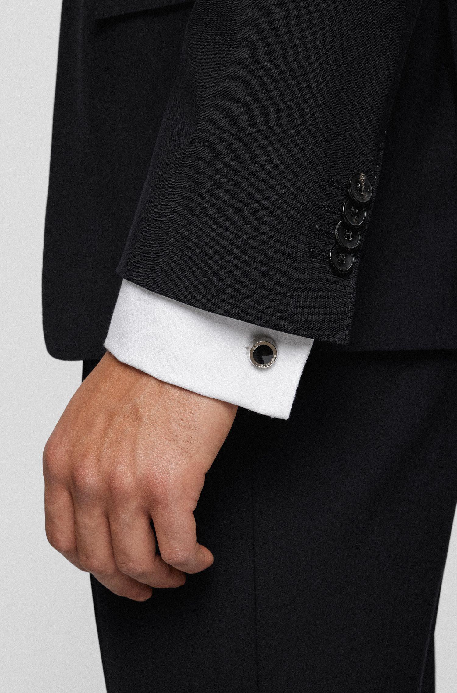 Boutons de manchette polis à la main avec fermeture ronde, Noir