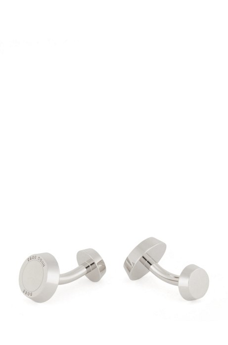 Round logo-engraved cufflinks with solid-enamel core, White
