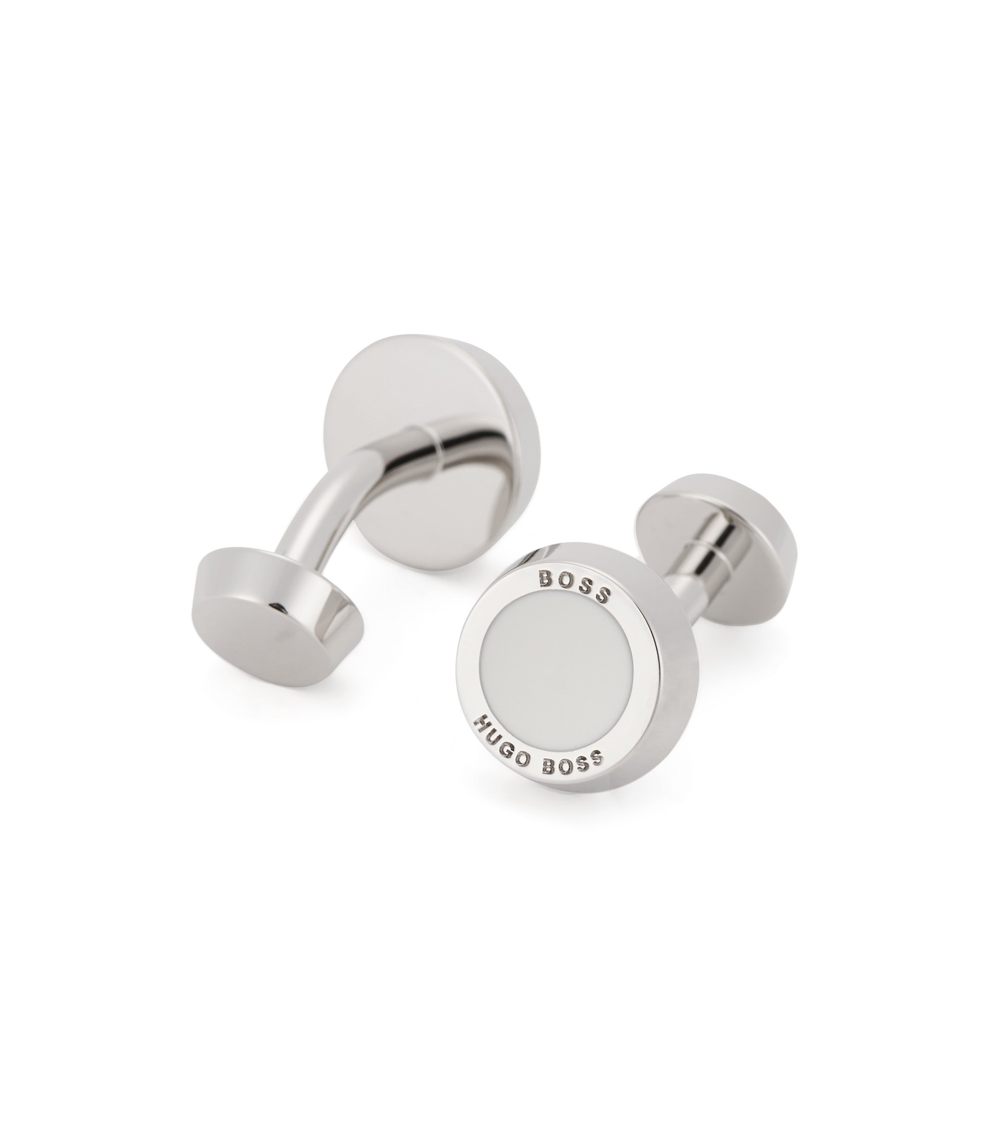 Hand-polished cufflinks with round fastening, White
