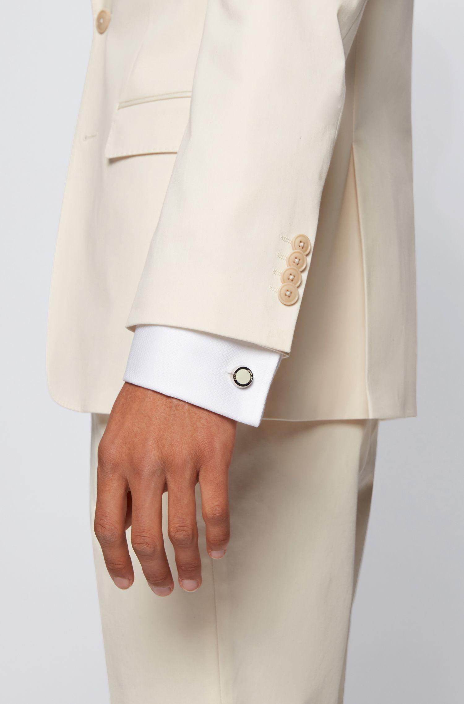 Handgepolijste manchetknopen met ronde sluiting, Wit