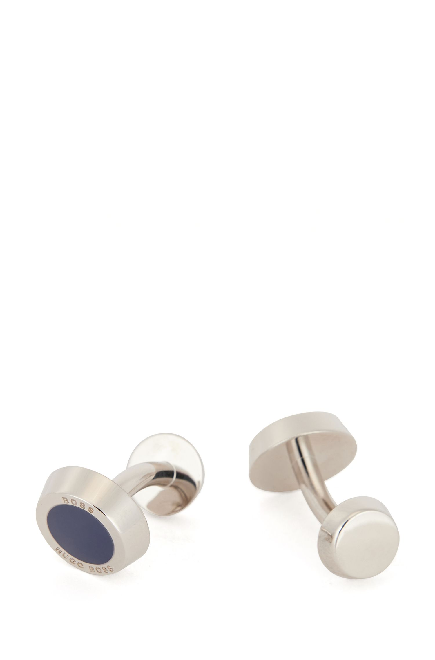 Hand-polished cufflinks with round fastening, Dark Blue