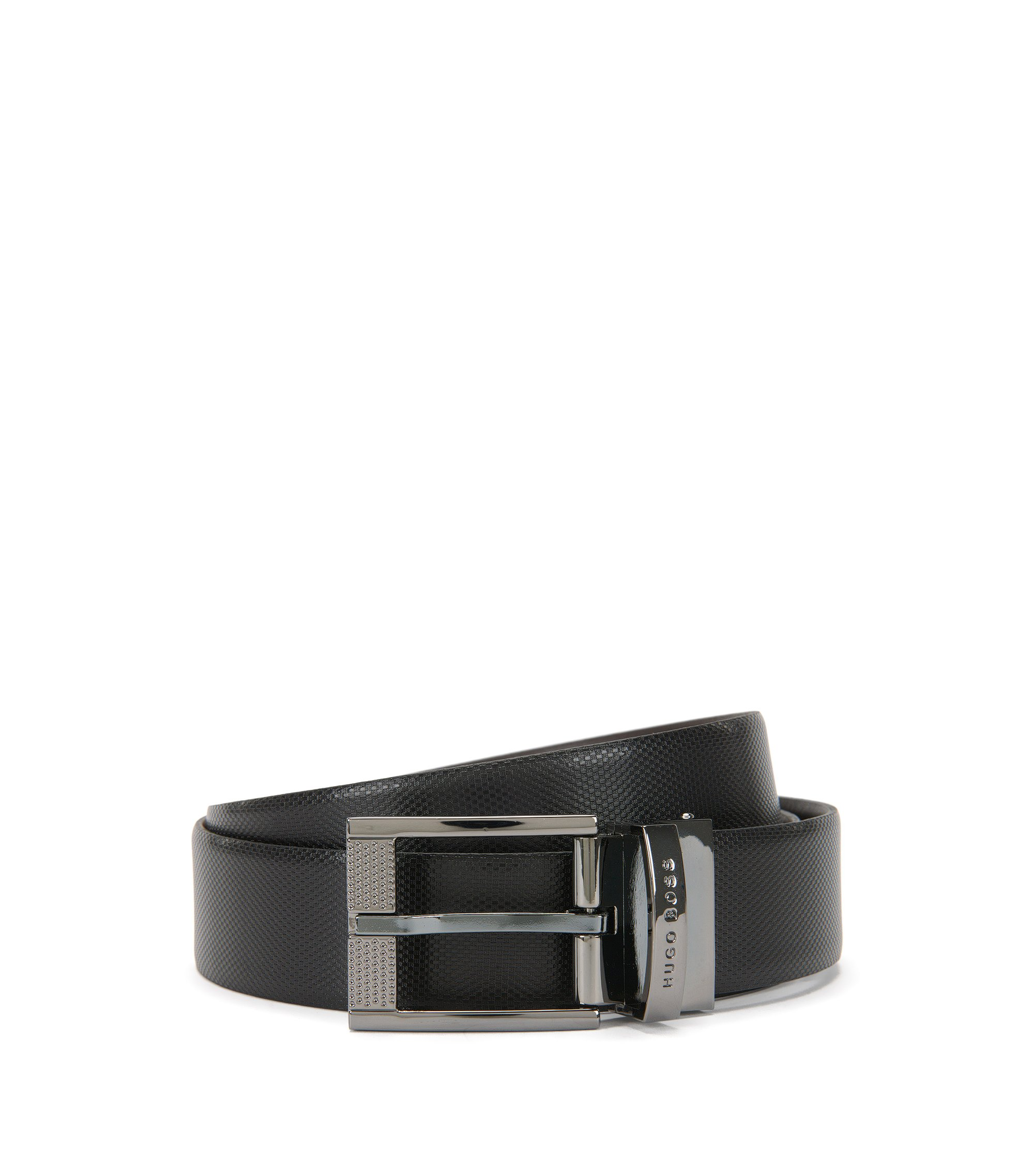 Reversible belt in premium leather , Black