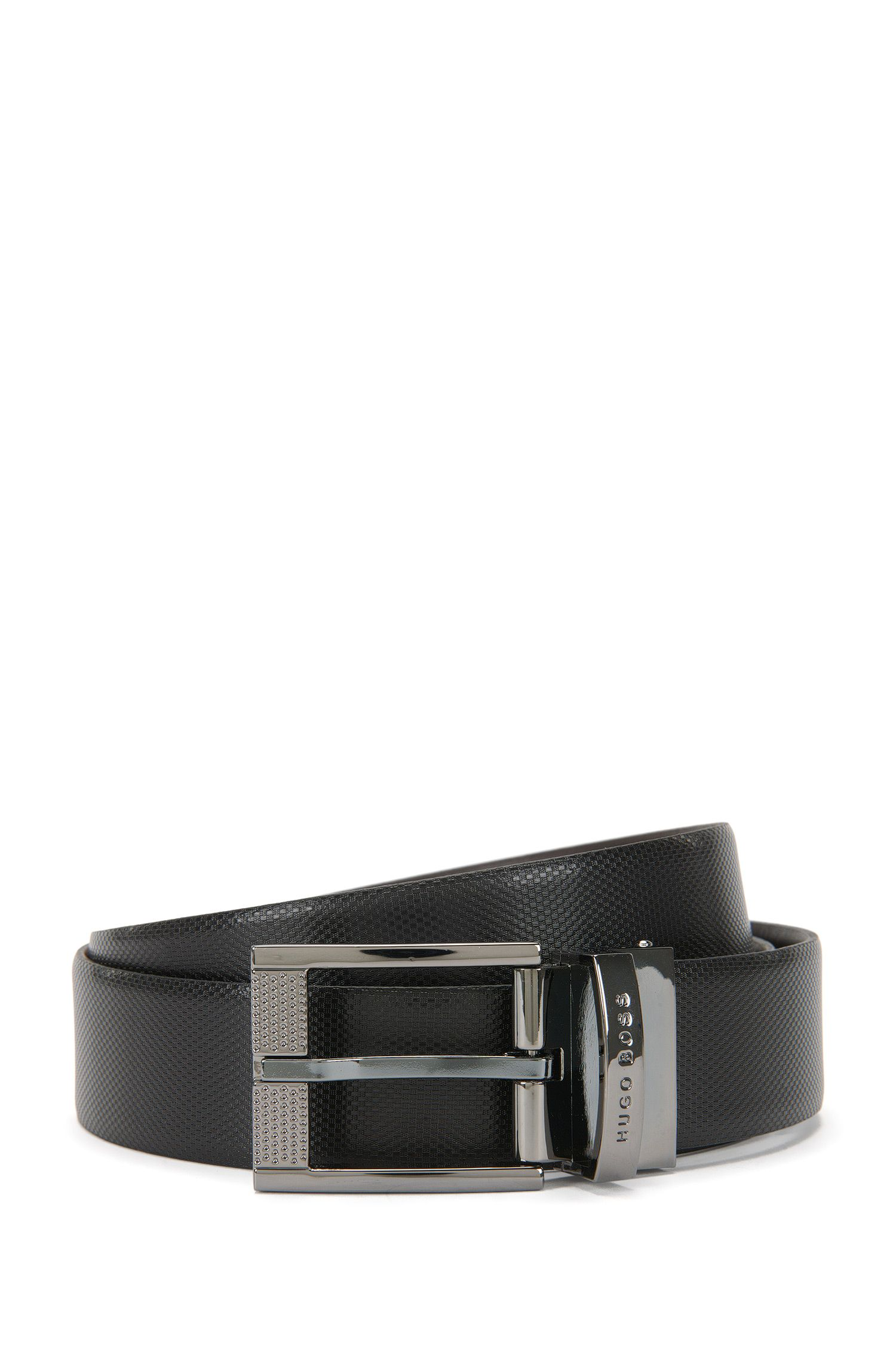 Reversible belt in premium leather
