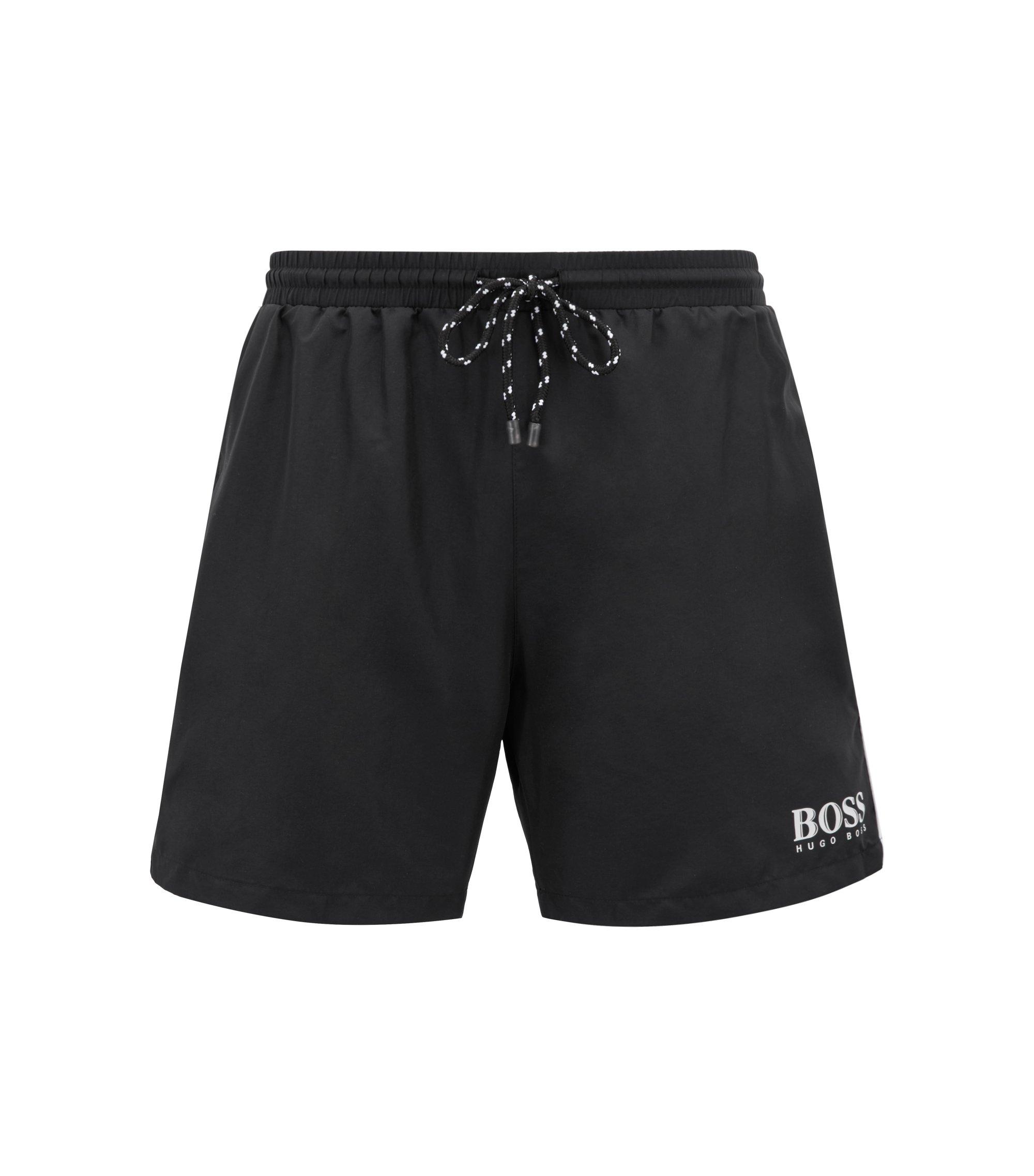 Drawstring swim shorts with logo detail, Black