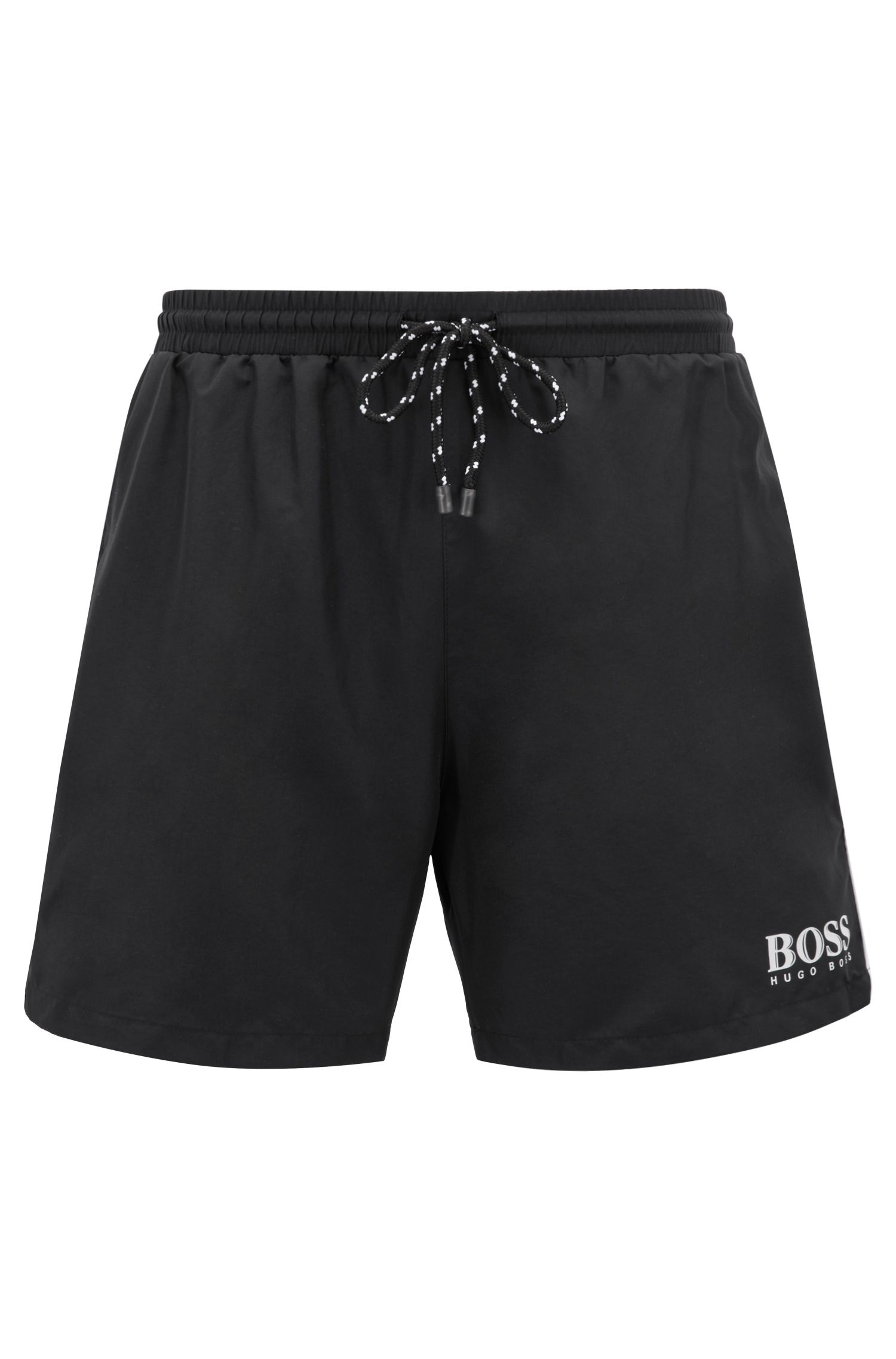 Drawstring swim shorts with logo detail, Black