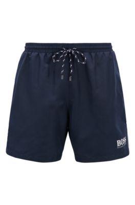 Short de bain avec cordon de serrage et logo, Bleu foncé