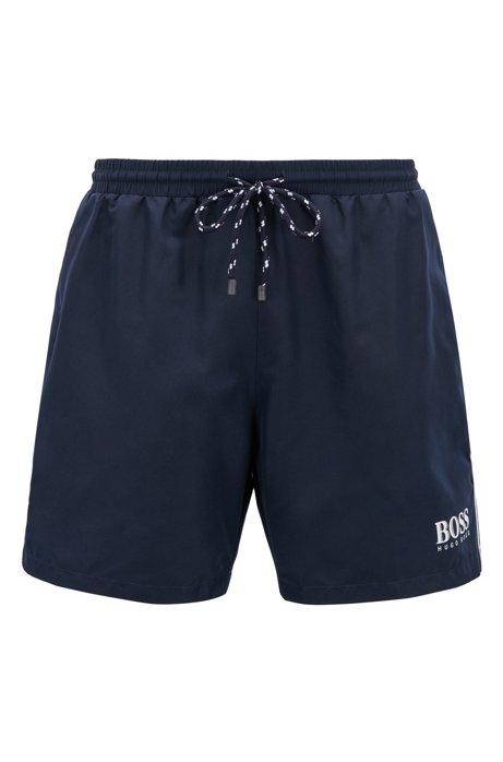Drawstring swim shorts with logo detail, Dark Blue