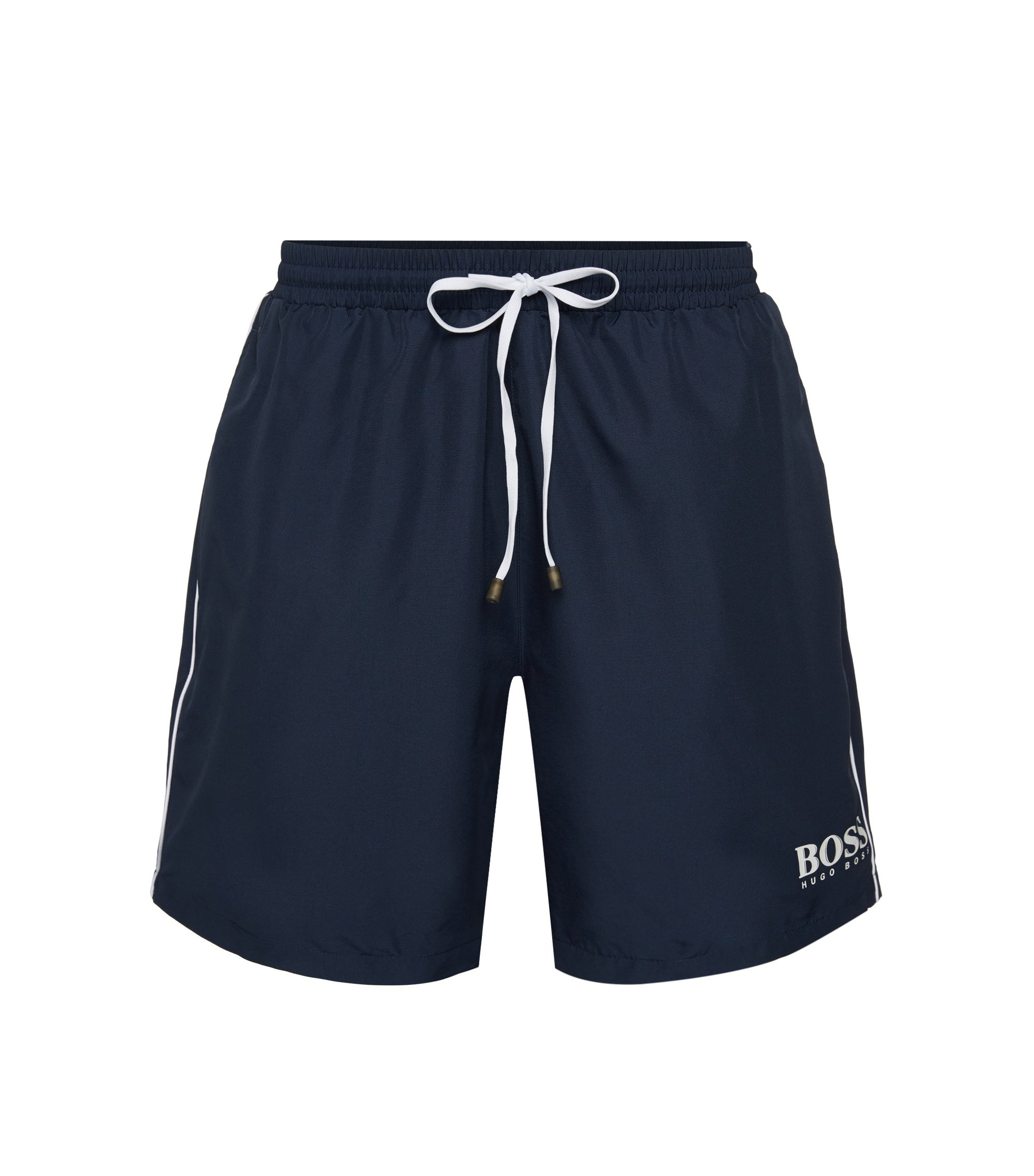Drawstring swim shorts with logo detail, Dark Blue