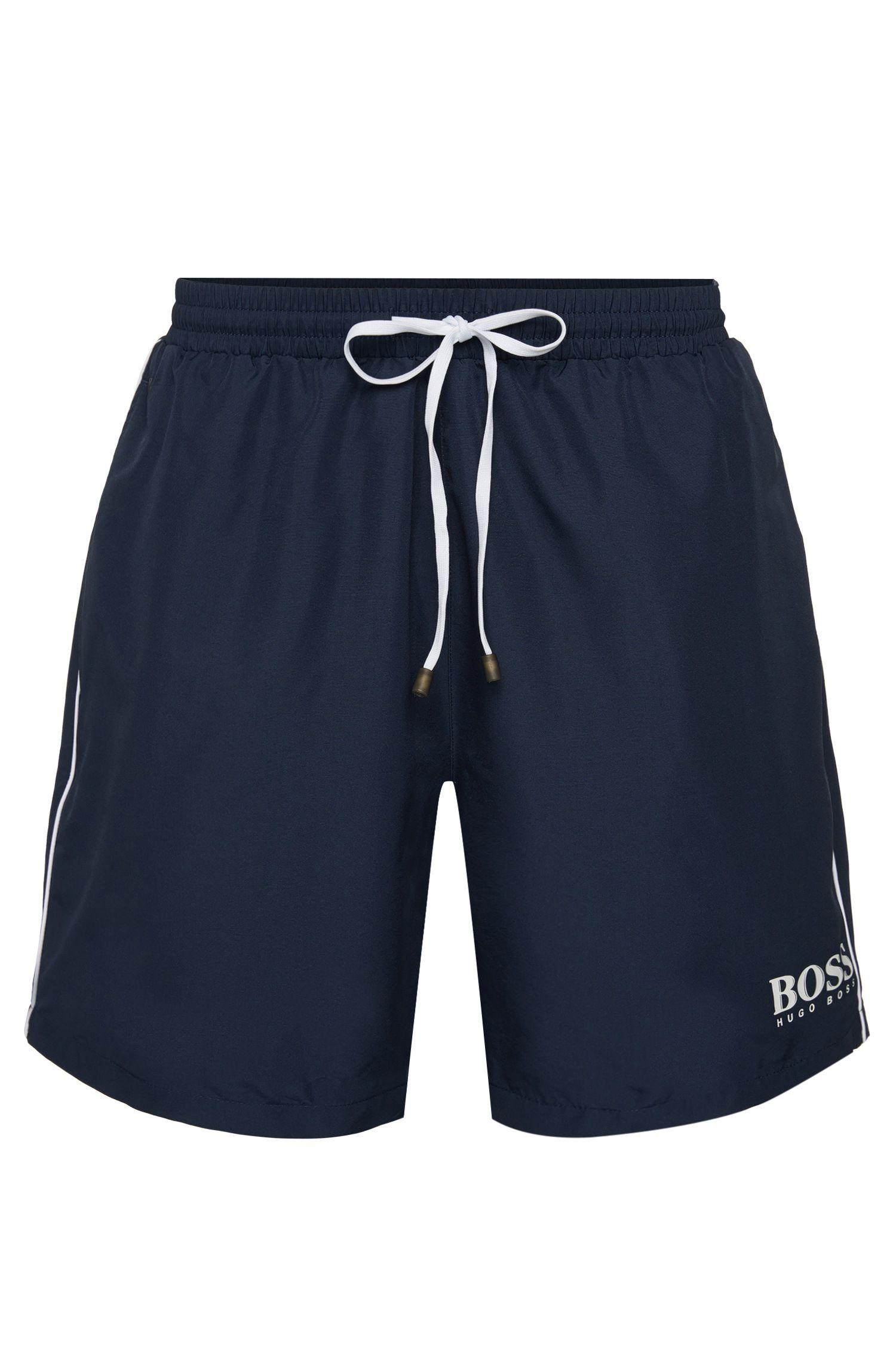 Drawstring swim shorts with logo detail