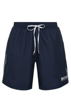 Zwembroek met trekkoord en logodetail, Donkerblauw