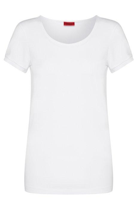 Slim fit t-shirt in stretch cotton: 'Debana', White