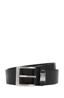 Vegetable-tanned leather belt with branded keeper hardware, Black