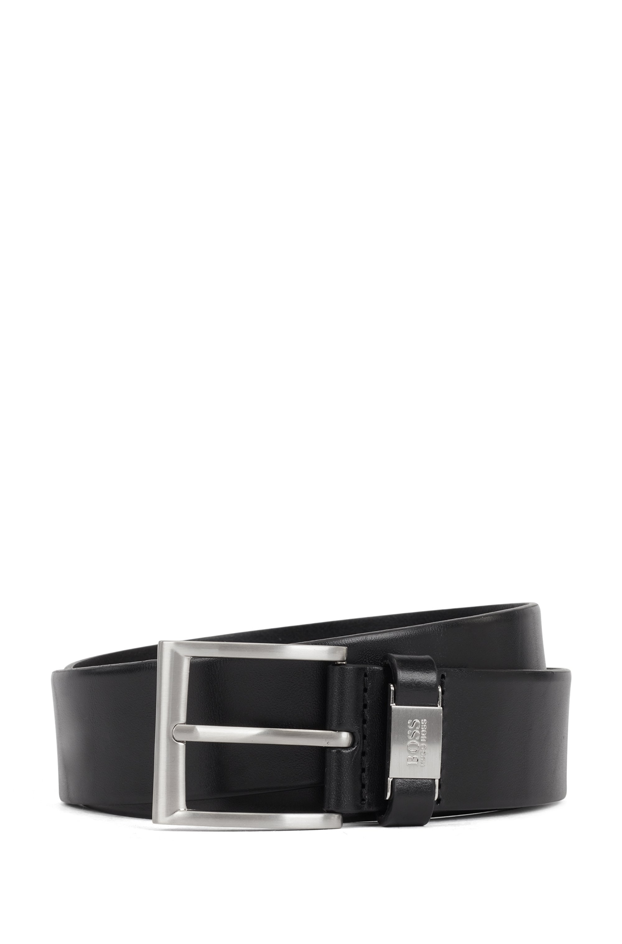 Leather belt with branded hardware keeper, Black