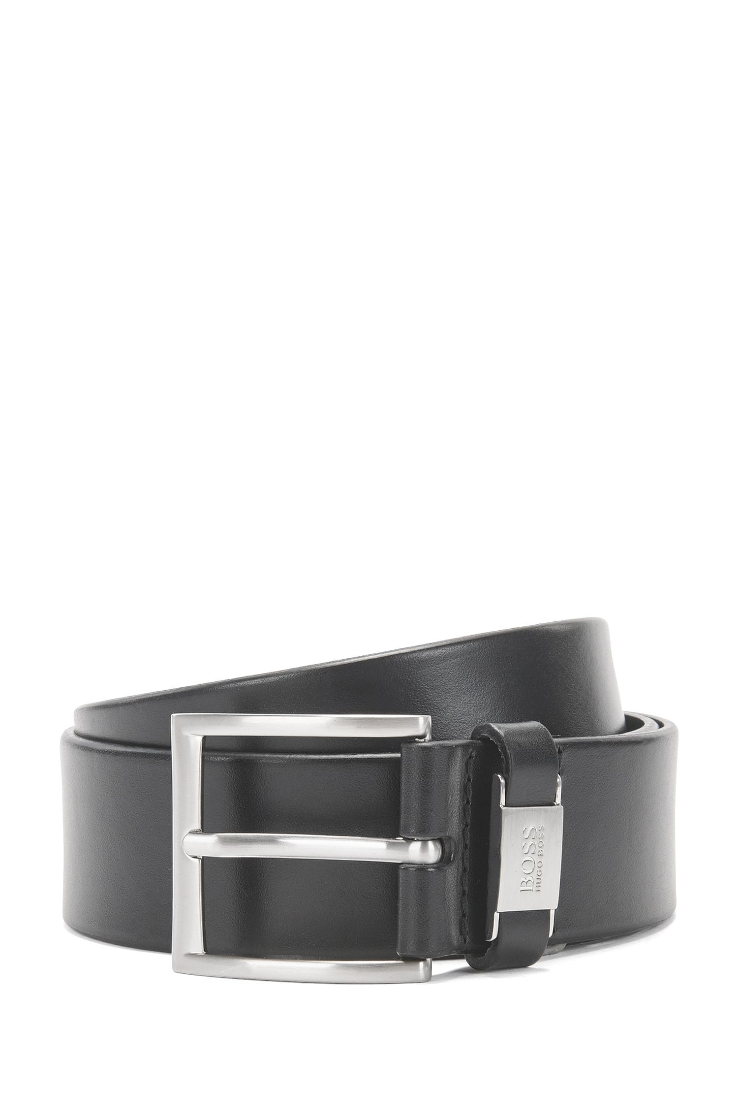 Leather belt with metal-trimmed keeper