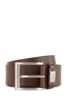 Vegetable-tanned leather belt with branded keeper hardware, Dark Brown