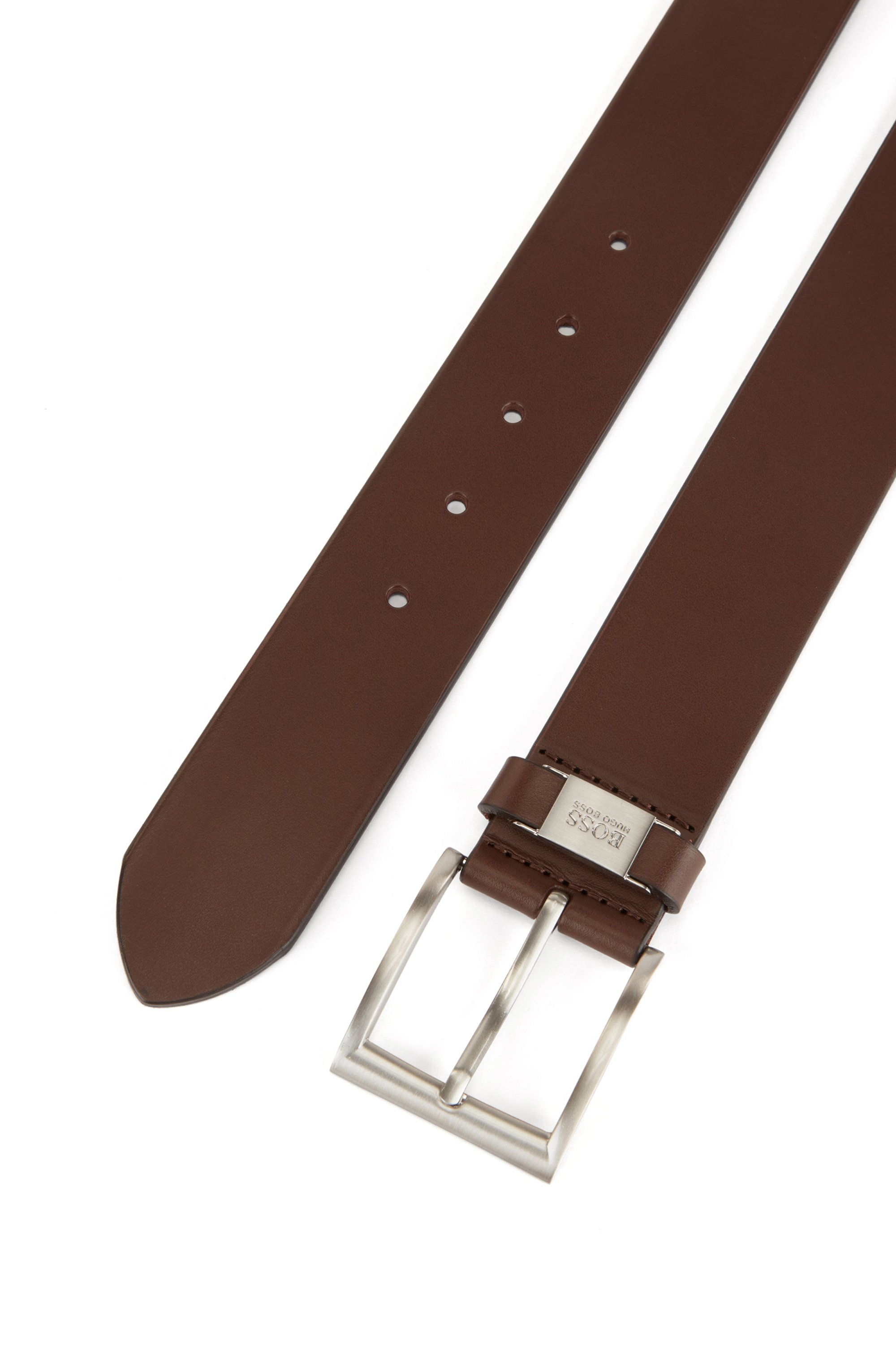 Leather belt with branded hardware keeper