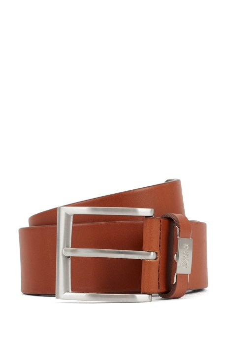 Italian-leather belt with metal-trimmed engraved keeper, Brown