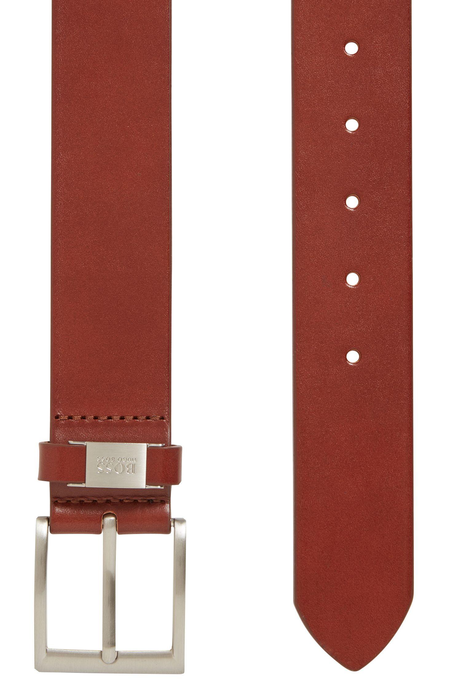 Ledergürtel mit Metall-Detail an der Schlaufe, Braun
