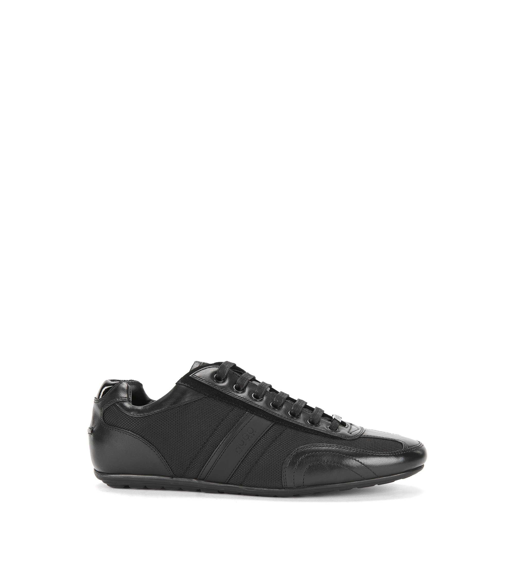 Lace-up trainers with leather stripe, Black
