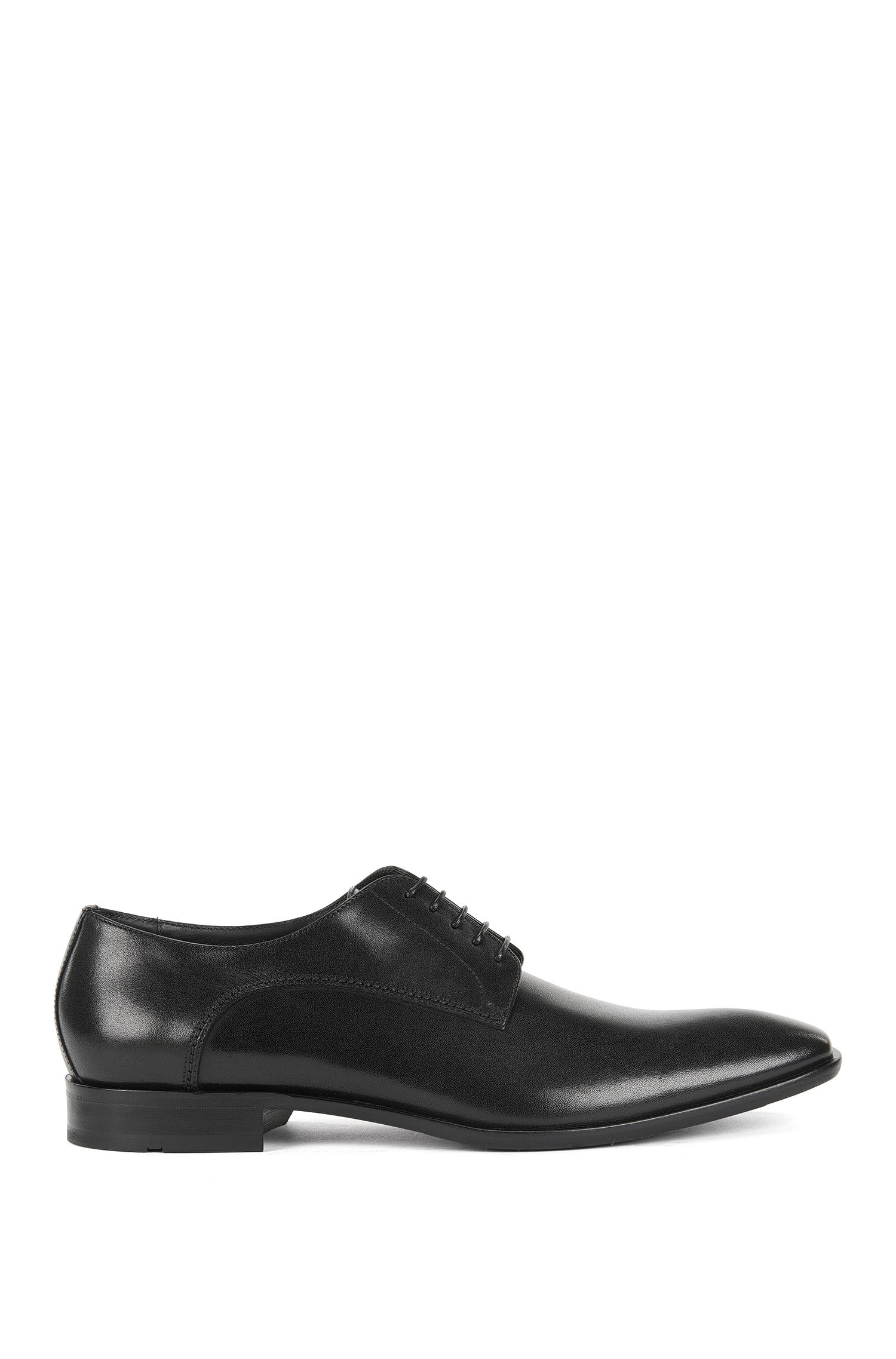 Leather Derby shoes with antique finish, Black