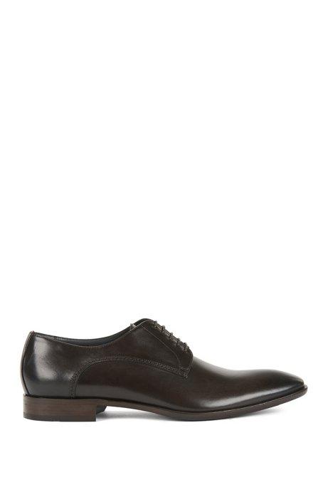 Chaussures Derby en cuir finition vieillie, Marron foncé