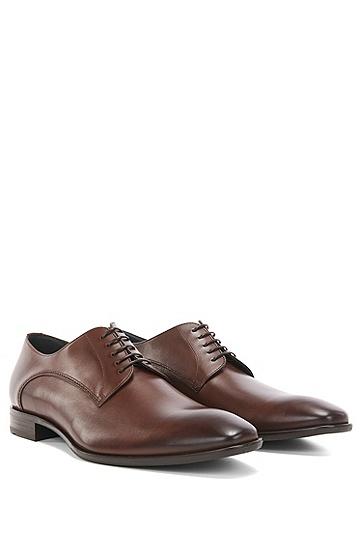 BOSS男装系列复古装饰皮革牛津鞋,  214_中棕色