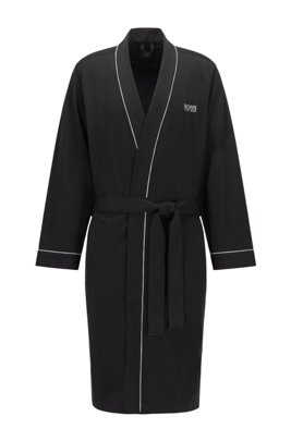 Cotton dressing gown with contrast piping, Black