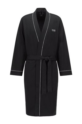Kimono-style dressing gown in brushed cotton with logo, Black