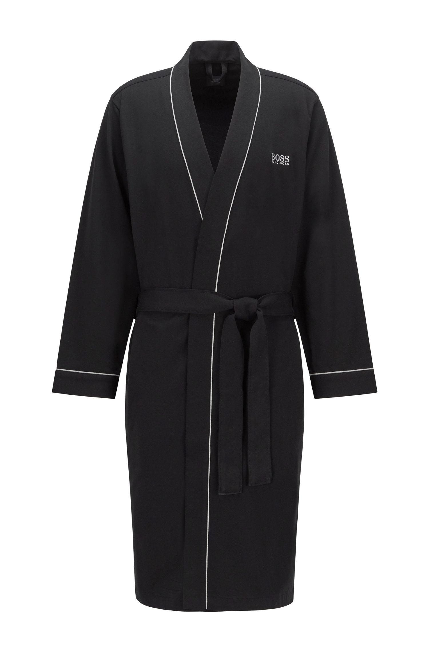 Morgenmantel aus gebürsteter Baumwolle im Kimono-Stil mit Logo, Schwarz