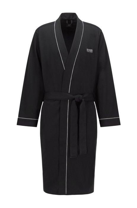 Peignoir style kimono en coton brossé avec logo, Noir