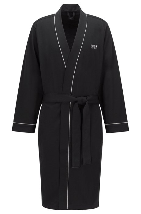 BOSS - Cotton dressing gown with contrast piping
