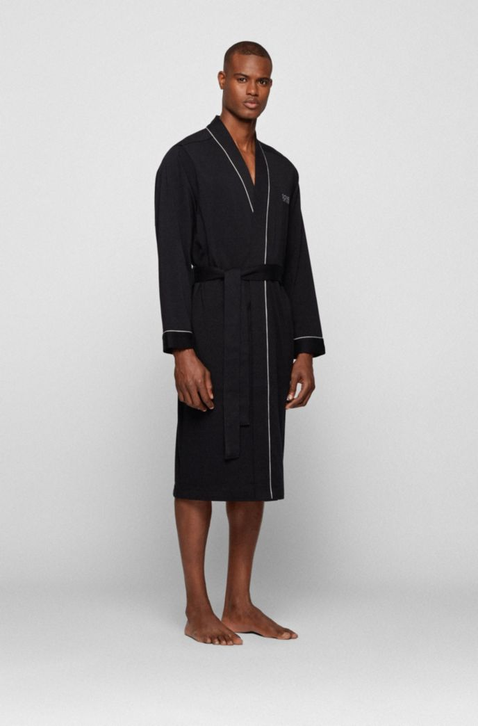 Cotton-jersey dressing gown with contrast piping