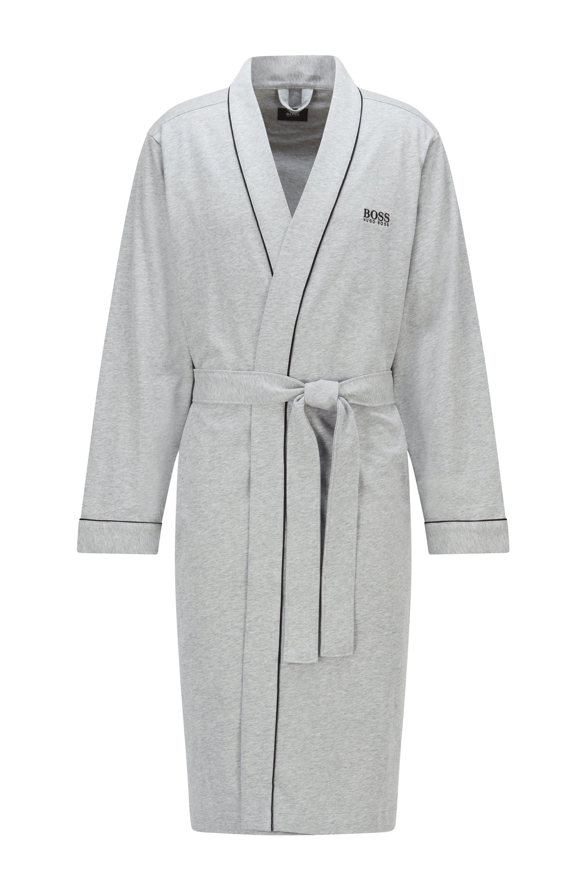 Morgenmantel aus gebürsteter Baumwolle im Kimono-Stil mit Logo, Grau