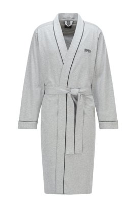 Kimono-style dressing gown in brushed cotton with logo, Grey