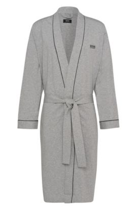 Morgenmantel aus Baumwolle mit kontrastfarbenen Paspeln, Grau