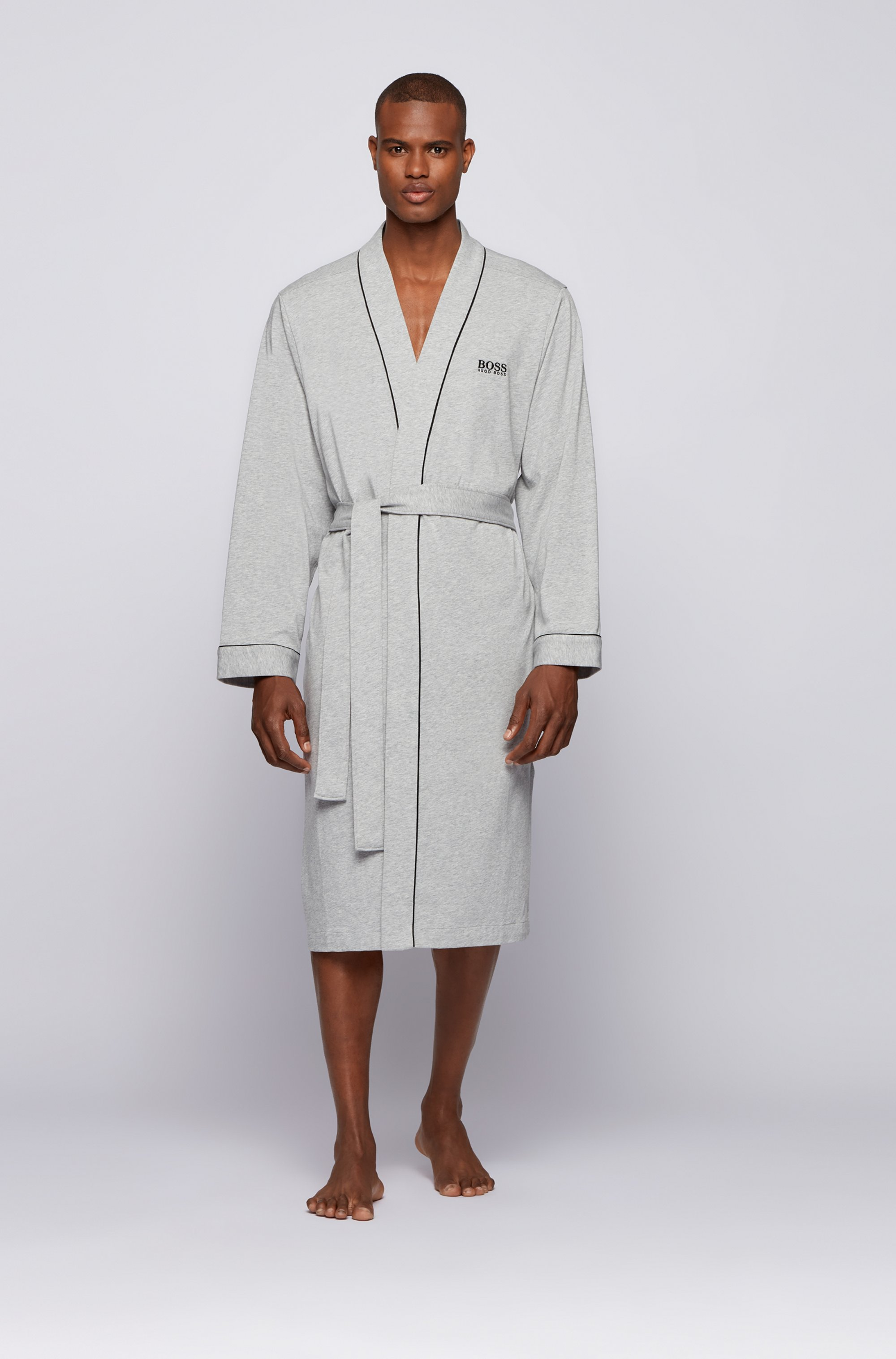 Kimono-style dressing gown in brushed cotton with logo
