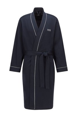 Kimono-style dressing gown in brushed cotton with logo, Dark Blue
