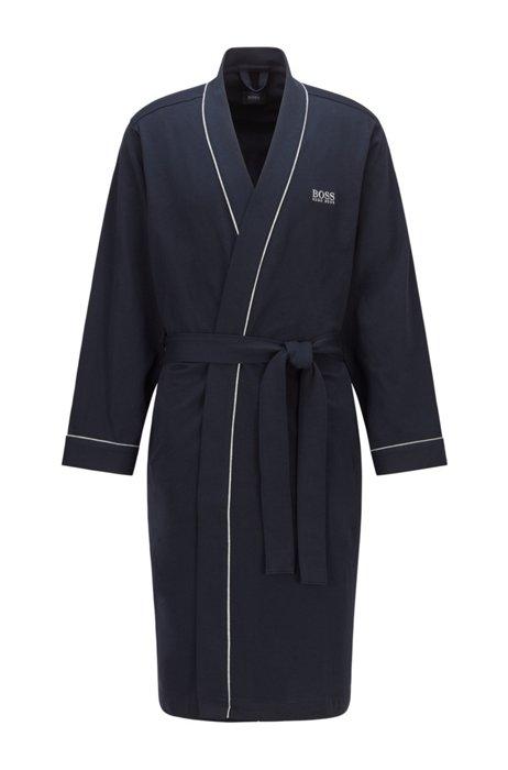 Peignoir style kimono en coton brossé avec logo, Bleu foncé