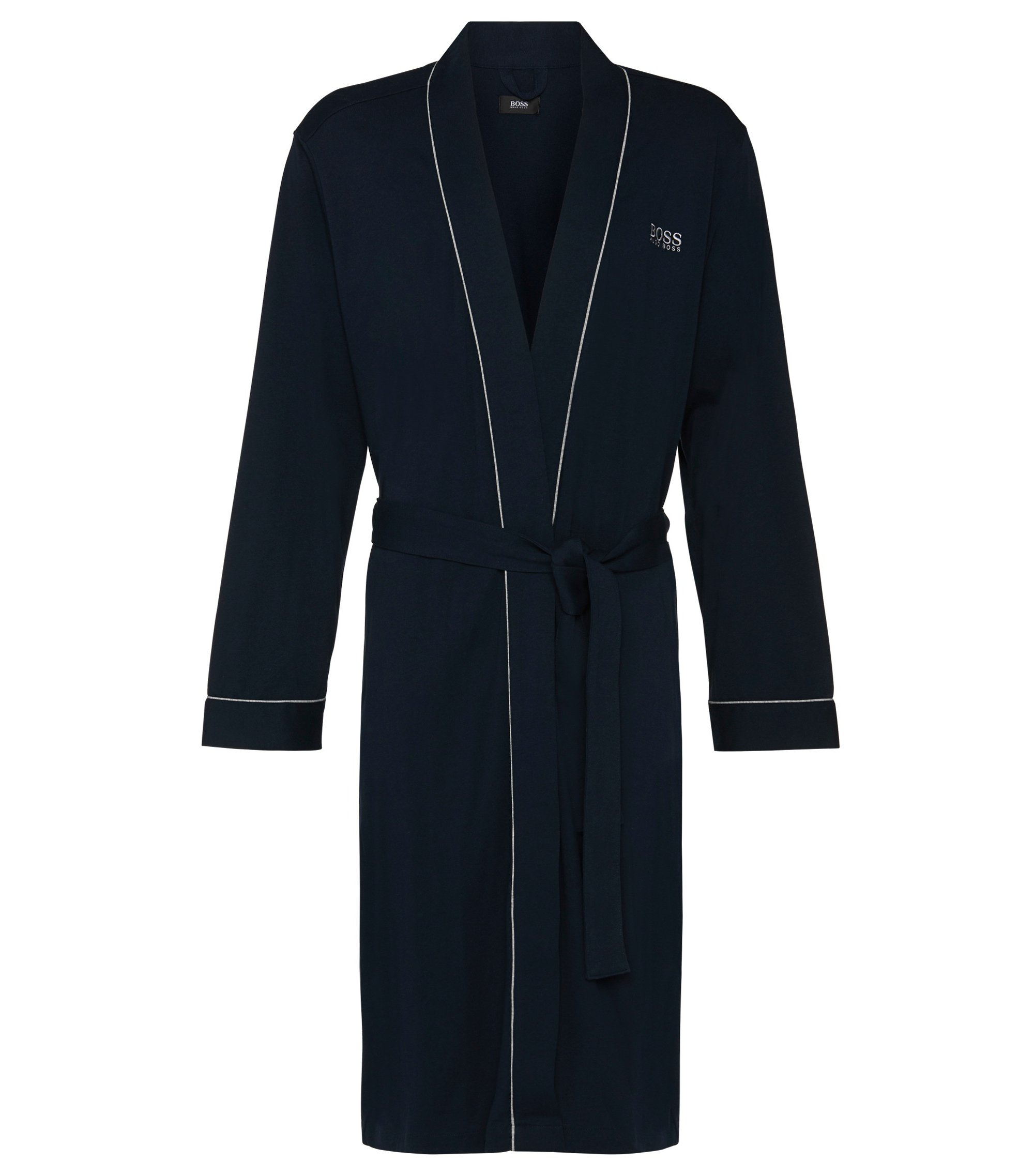 Cotton dressing gown with contrast piping, Dark Blue