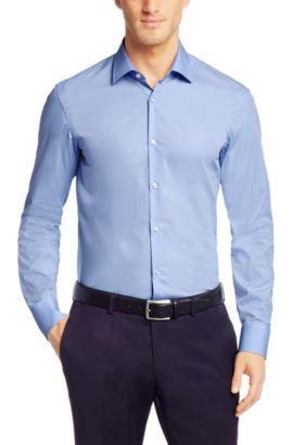 Camicia slim fit in cotone tinta unita: 'Jenno', Blu