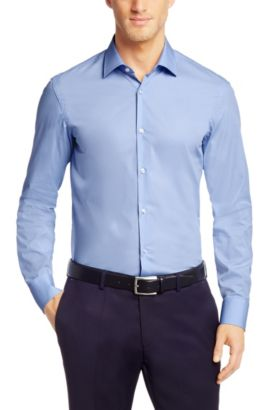 Plain slim-fit cotton shirt: 'Jenno', Blue
