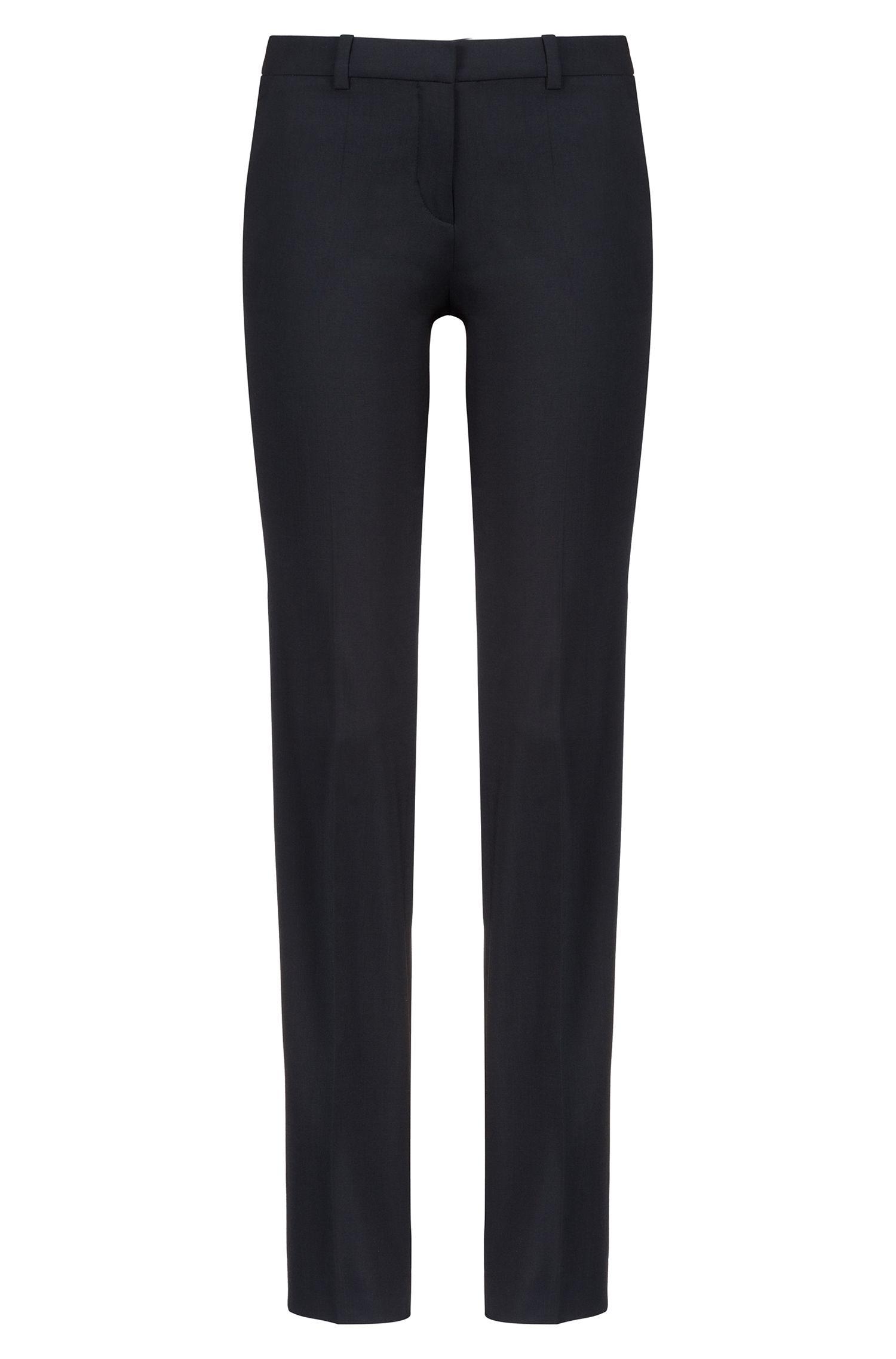 Pantalon HUGO Femme Regular Fit habillé, en laine vierge stretch