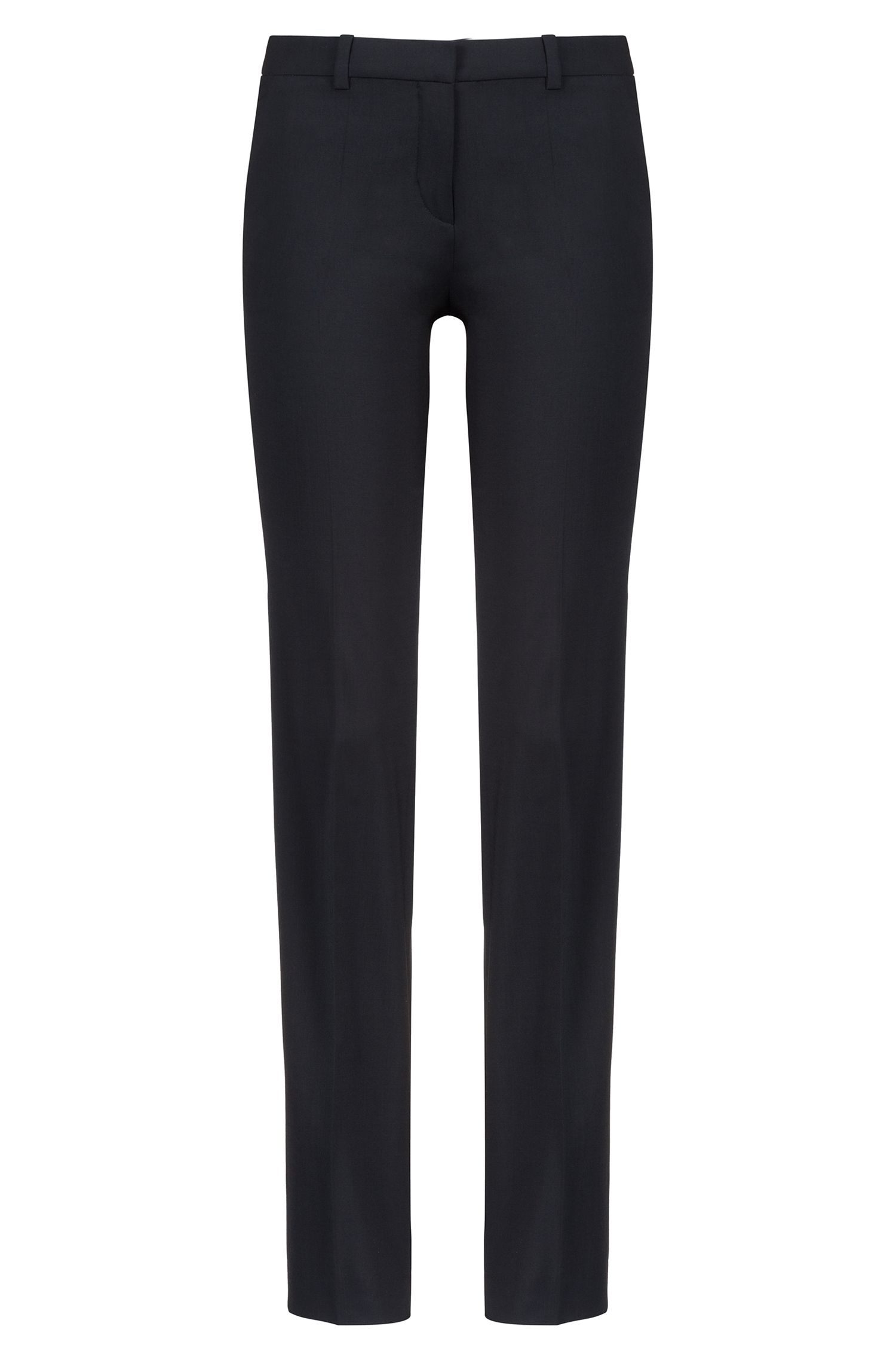 Pantalon HUGO Femme Regular Fit habillé, en laine vierge stretch, Noir