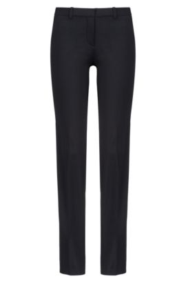 Regular-fit formal trousers in stretch virgin wool, Black