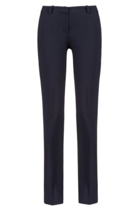 Regular-fit formal trousers in stretch virgin wool, Dark Blue